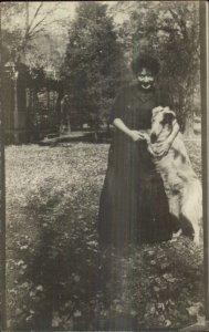 Woman & Her Dog - Borzoi? c1910 Amateur Real Photo Postcard