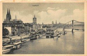 Koln am Rhein Leystapel River Boats Bridge Panorama Cathedral Postcard