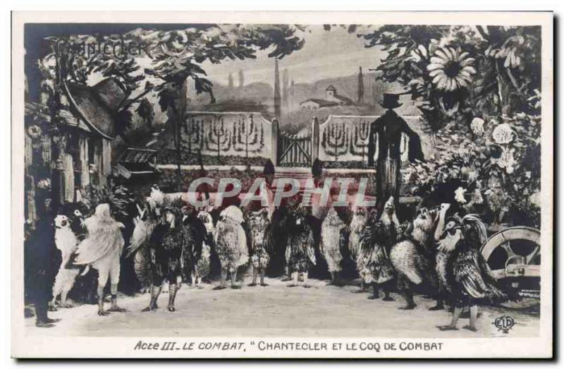 Old Postcard Edmond Rostand Chantecler and gamecock