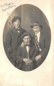 RPPC Edwardian Men Smoking Cigars Arthur Bentley c1910s Photo Vintage Postcard