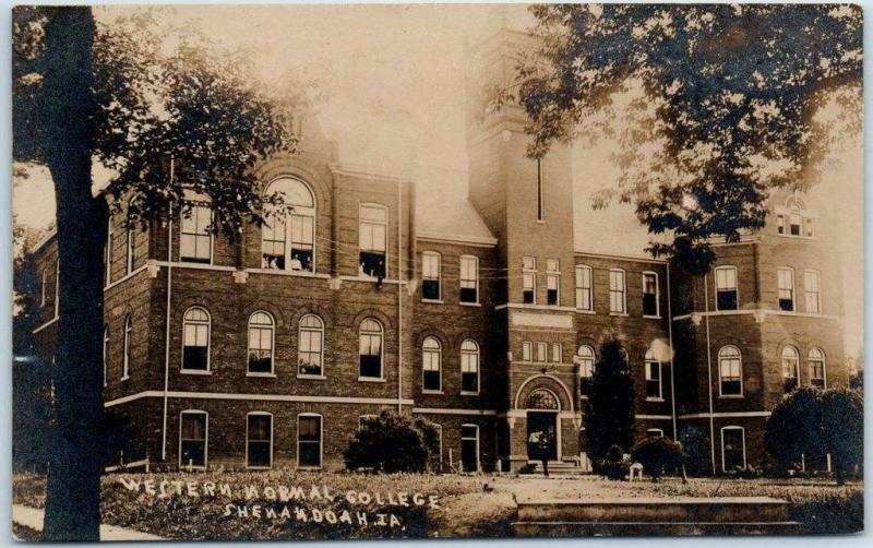 Shenandoah, Iowa RPPC Real Photo Postcard WESTERN NORMAL COLLEGE Building 1908