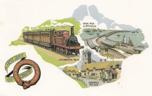 The Isle Of Wigan Central Railway Train To Spithead Godshill Postcard