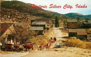 Cattle Roam Cowboys 1950s Silver City Idaho Northwest Curio postcard 6038