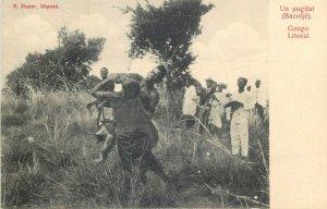 Belgian Congo Belge un pugilat Bacotje Congo Litoral ethnic boxer fighter fight