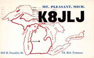 MT PLEASANT MICHIGAN QSL POSTCARD 1960 BOB FOREMAN K8JLJ