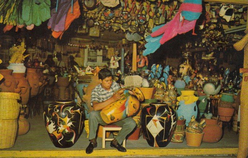 TIJUANA, Mexico, PU-1966; Avenida Revolucion, Pottery Painter