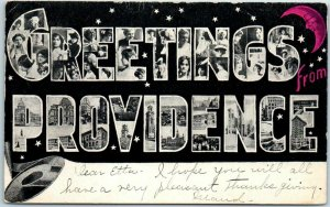 Vintage GREETINGS FROM PROVIDENCE Rhode Island Large Letter Postcard - 1906