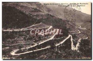 Postcard Old Route Sospel Menton has laces Fontanin View from Col Castillon