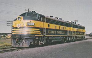 Ontario Northland 1500,  A pair of FP7_A's of this Canadian railroad at Cochr...