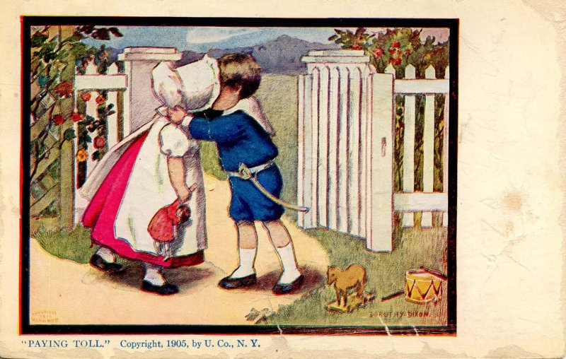Paying Toll - Sunbonnet Girl with Boy.      Artist: Dorothy Dixon   (card i...