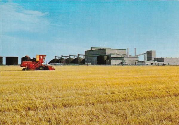 Canada Saskatchewan Harvest Time & Potash Plant On The Prairies