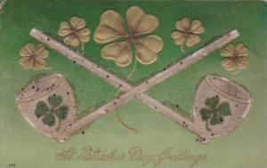 Saint Patrick's Day Greetings With Pipes and Shamrocks