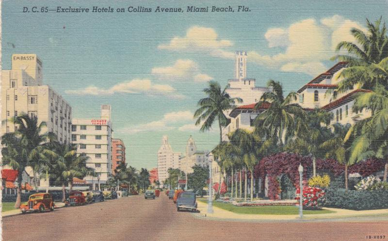 MIAMI BEACH, Florida, 30-40s; Exclusive Hotels on Collins Avenue