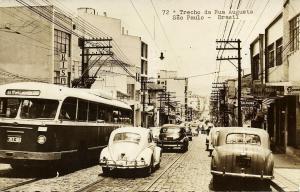 brazil, SÃO PAULO, Trecho da Rua Augusta, Trolley Bus, Car VW V.W. Beetle (1963)