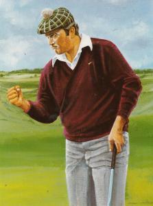 Raymond Floyd Golfer Golf 12x8 Large Board Card Painting Golf Ephemera
