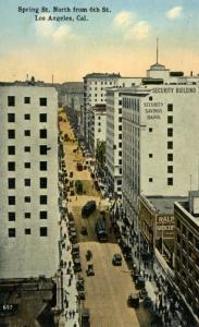 Los Angeles California CA~ Spring & Sixth St. Downtown From Above ~ Postcard