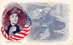 John Paul Jones America's First Naval Hero ship US Flag antique pc BB1118