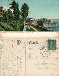 SAN JUAN PUERTO RICO ANTIQUE 1910 UNDIVIDED POSTCARD w/ CORK CANCEL