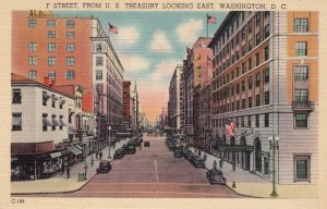 P1684 old unused postcard f street from us treasury looking east washington D.C.