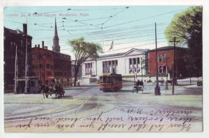 P1134 old used postcard horse & wagons trolley street view worchester mass