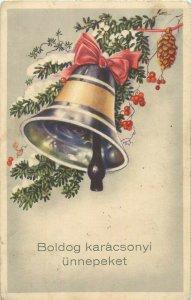 Boldog Karacsonyi Christmas Bell floral ornament Fantasy Hungary 1937