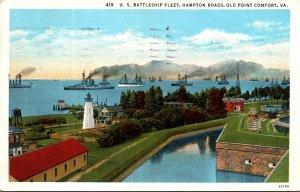 Virginia Hampton Roads U S Battleship Fleet 1935 Curteich