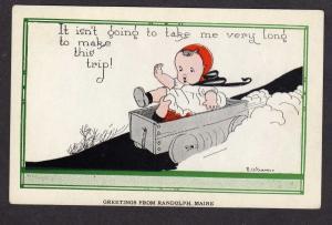 ME Baby E Weaver Artist Signed Greeting Randolph Maine Vintage Postcard Auto Kid