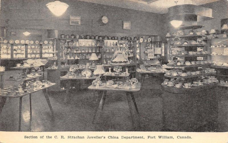 Fort William Ontario~CR Strachan Jeweller's China Department~Store Interior~1952