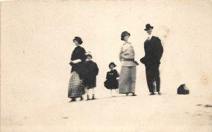 F52/ Lake Michigan Michigan RPPC Postcard Family c1910 Sand Hills