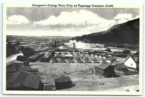 VTG Postcard CA California Topanga Canyon Cooper's Camp Tent City Malibu A5