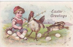 Easter Greetings Young Boy Chicken Rabbit &  Eggs 1909