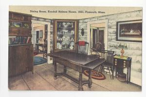 MA Plymouth Kendall Holmes House Dining Room Tichnor Vtg Linen Postcard 1953