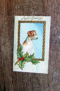 Christmas Joyful Greetings Dog Portrait With Holly Postcard Holiday Embossed