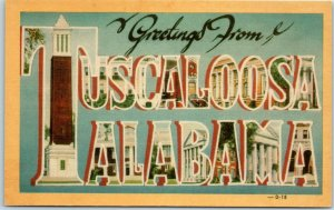Vintage 1940s Large Letter Postcard TUSCALOOSA ALABAMA Denny Chimes Dexter Linen