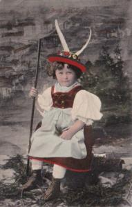 Austria Gruss Aus Tirol Young Child In Traditional Costume