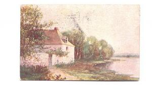 Painting, Country Home, Used 1908 Boston Flag Cancel