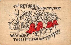 The Return of the Schoolteachers Cartoon Occupation, Teacher 1912