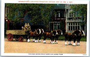 Chicago, Illinois Postcard Union Stock Yards Six-Horse Team Curteich c1940s