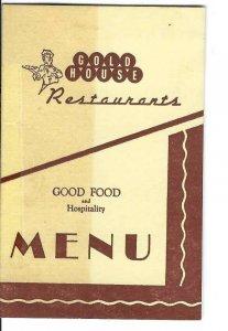 MK-044 FL, Starke, Gold House Restaurant Miniature Menu 1940's to 1950's Vintage