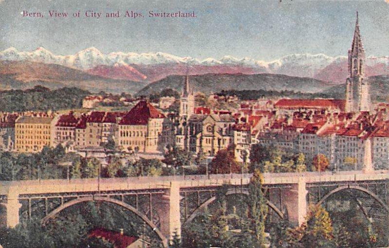 Bern, View of City and Alps Switzerland Unused