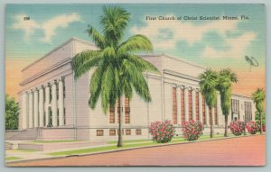 Miami Florida~First Church Of Christ Scientist~Vintage Postcard