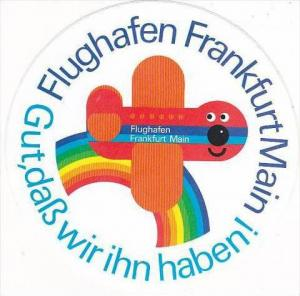 FRANKFURT AM MAIN AIRPORT VINTAGE AVIATION LABEL