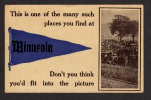 KS MINNEOLA KANSAS Pennant Flag Postcard 1912 PC