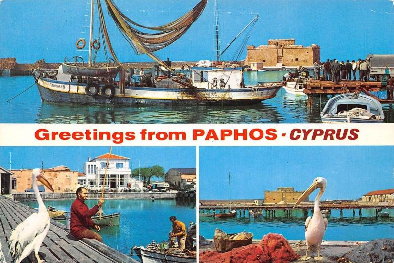 Cyprus Greetings from Paphos multiviews Port Harbour