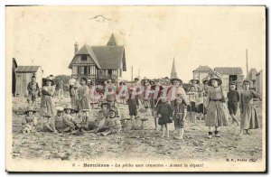 Old Postcard Bernieres The shrimp fishing Before departure Children