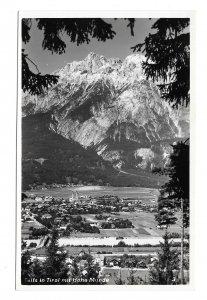 RPPC Austria Telfs in Tirol mit Hohe Munde Mountain K Somweber Glossy Postcard