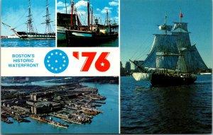 Vtg 1976 Bicentennial Bostons Historic Waterfront Massachusetts MA Postcard