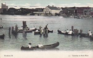 Illinois Rockford Canoeing On Rock River 1909 Curteich