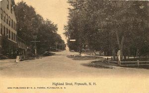 PLYMOUTH NH HIGHLAND STREET SEPIA POSTCARD c1907