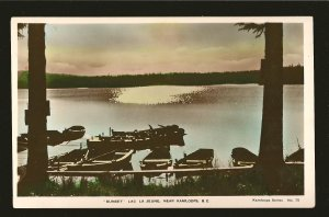 Sunset Lac La Jeune Kamloops BC Series No 75 Hand Colored Real Photo Postcard